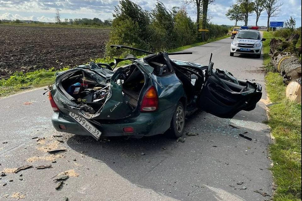 Дерево упало на автомобиль с людьми и раздавило его